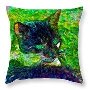 Fractalias Feline Throw Pillow