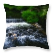 Fractalius - River Wye Waterfall - In Peak District - England Throw Pillow