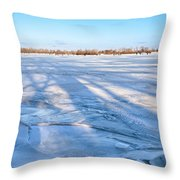Fractured Ice On The River Throw Pillow