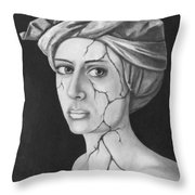 Fractured Identity Bw Throw Pillow