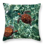 Fragile Underwater World. Sea Turtles In A Crystal Water. Maldives Throw Pillow by Jenny Rainbow