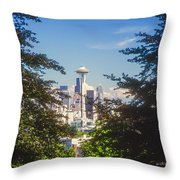 Framed Space Needle Throw Pillow