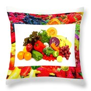 Framed Veggies Throw Pillow