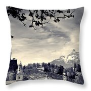 Framed View Of Salzburg From Kapuzinerberg Throw Pillow