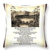 Framed Vintage 23rd Psalm Sepia Throw Pillow