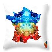 France - European Map By Sharon Cummings Throw Pillow