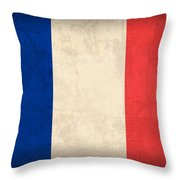 France Flag Distressed Vintage Finish Throw Pillow by Design Turnpike
