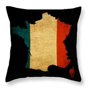France Grunge Map Outline With Flag Throw Pillow