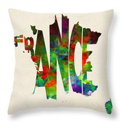 France Typographic Watercolor Map Throw Pillow
