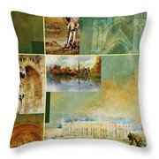 France Unesco World Heritage Poster Throw Pillow