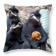 Francois's Langur Family Throw Pillow