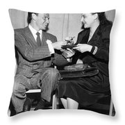 Frank Sinatra Signs For Fan Throw Pillow