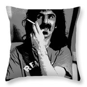 Frank Zappa - Chalk And Charcoal Throw Pillow by Joann Vitali