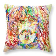 Frank Zappa Watercolor Portrait.1 Throw Pillow