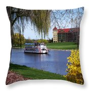 Frankenmuth Riverboat Throw Pillow