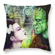 Frankenstein And The Bride Throw Pillow
