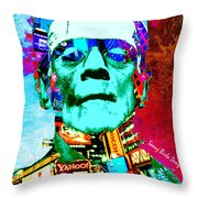 Frankenstein Visits Times Square Throw Pillow