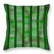 Frankensteins Quilt - Coin Quilt - Quilt Painting - Monster Green Patches Throw Pillow