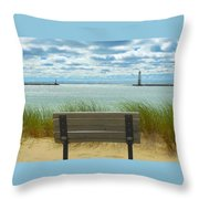 Frankfort Lighthouse Front Row Seats Available Throw Pillow