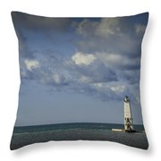 Frankfort Lighthouse On Lake Michigan Throw Pillow