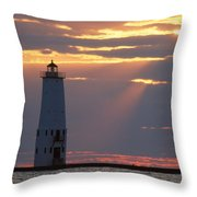 Frankfort North Breakwater Lighthouse Throw Pillow