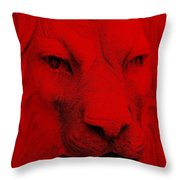 Frankie Lion Red Throw Pillow