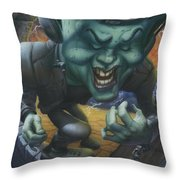 Frankinstein Playing The Air Guitar - Parody - Illustration - Monster Monsters - Humorous Throw Pillow