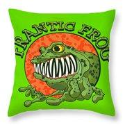Frantic Frog Throw Pillow