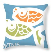 Fraternal Twins - Baby Room Art Throw Pillow