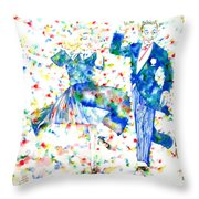Fred Astaire And Ginger Rogers Watercolor Portrait Throw Pillow