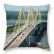Fred Hartman Bridge Houston Throw Pillow