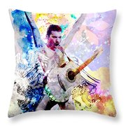 Freddie Mercury - Queen Original Painting Print Throw Pillow