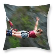Free As A Bird Bungee Jumping Throw Pillow