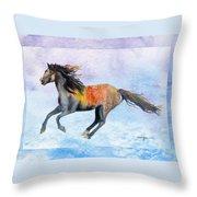 Da114 Free Gallop By Daniel Adams Throw Pillow