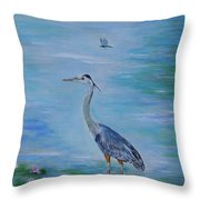 Free Spirit Blue Heron Throw Pillow
