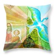 Free Spirit Dreamscape - Within Border Throw Pillow