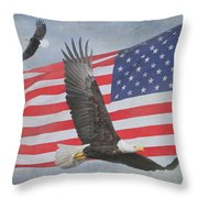 Freedom Flight Throw Pillow by Angie Vogel