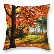 Freedom Of Autumn - Palette Knife Oil Painting On Canvas By Leonid Afremov Throw Pillow