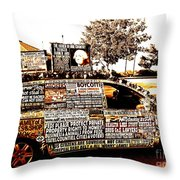 Freedom Of Speech On Wheels Throw Pillow by Desiree Paquette