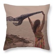 Freedom On Top Of A Cliff Throw Pillow