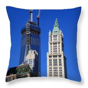 Freedom Tower And Woolworth Building Throw Pillow
