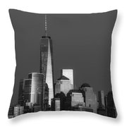 Freedom Tower Glow Bw Throw Pillow