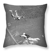 Freefalling Nova Scotia Skydivers In Stewiacke Throw Pillow