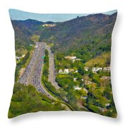 Freeway Sepulveda Pass Traffic Bel Air Crest California Throw Pillow