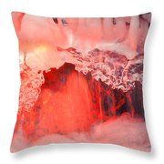 Freezing Waterfall Glowing In Red Light Throw Pillow