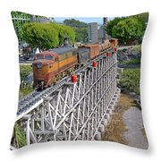 Freight Train Bridge Crossing Throw Pillow
