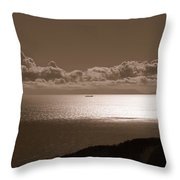 Freighter And The Catalina Channel Throw Pillow
