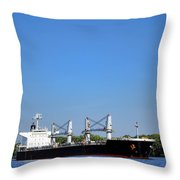 Freighter On River Throw Pillow