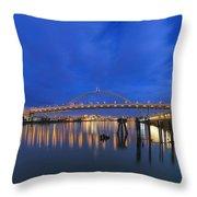 Fremont Bridge Blues Throw Pillow