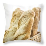 French Baguette In Basket Throw Pillow